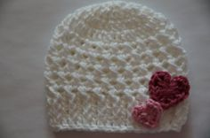 Crochet Baby Girl Hat / Valentine Hat /White Hat with hearts