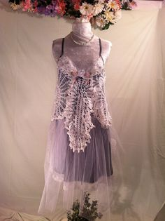 Sale Upcycled Wedding Dress / Bohemian Dress /  Upcycled Clothing / Crochet Dress /  Prom Dress / By Intrigues