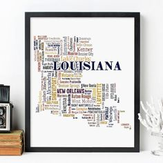 Louisiana typography map art print featuring its city names in in multiple fonts  This print (Frame Not Included) is available in multiple color options and features the cities (randomly placed within the map) shaped to the form of the state • Digitally designed for a clean, crisp look, and ready to be framed and hanging in your bar, office, den, or anywhere else that you want to show off a favorite location • Great moving gift idea, wedding gift idea, graduation gift idea, anniversary gift…