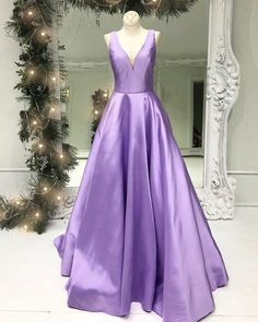Simple lavender satin V neck long sweet 16 prom dress, long graduation dress