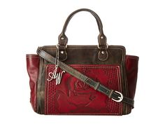 American West Coming Up Roses Zip-Top Tote Distressed Charcoal Brown/Sky Blue - Zappos.com Free Shipping BOTH Ways
