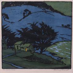 "Pedro Lemos Woodblock Print ""The Green Cove"""