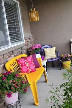"Porch makeover! From way drab....to......bright and FAB! Amanda from the blog ""DIY til we die"" shows us how she gave her from porch a make over, simply using spray paint! We love how colorful, bright and inviting it is now! Check out all the colors you could choose from here: http://www.rustoleum.com/product-catalog/consumer-brands/painters-touch-ultra-cover-2x/gloss"