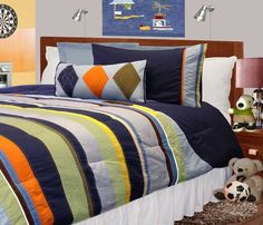 Boys navy bed microfiber comforter set. Both boys favorite colors are in this.
