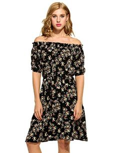 Kancystore Women Casual Slash Neck Short Sleeve Elastic Waist Print Pleated Dress S Black ** You can get additional details at the image link. (This is an affiliate link and I receive a commission for the sales)
