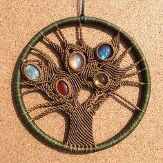 クリスタルの木 ✨✨crystal tree✨✨ 左から オーシャンジャスパー カーネリアン ムーンストーン ラブラドライト シトリン #macrame