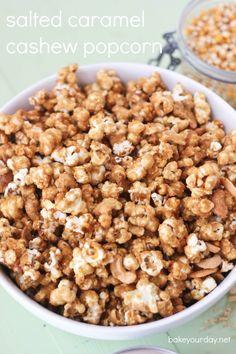 Salted Caramel Cashew Popcorn   bakeyourday.net