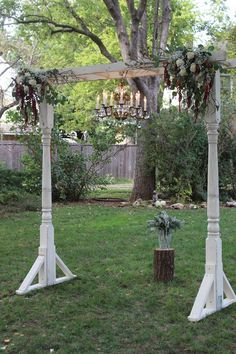 Porch Post Arbor w/vintage chandelier