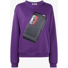 Acne Studios capsule sweatshirt with tape patch (£320) ❤ liked on Polyvore featuring tops, hoodies, sweatshirts, acne studios sweatshirt, patch tops, cotton sweatshirts, purple top and acne studios