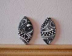 Polymer clay cabochon pair, handmade cabochon, Fimo cabochon ( 137. ) by Beabead on Etsy