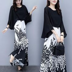 Women Elegant Loose Two Piece Set Office Lady Casual Shirt Tops And Print Wide Leg Trouser Sets Ladies Pants Suits Korean Girl Fashion, Muslim Fashion, Hijab Fashion, Indian Fashion, Fashion Dresses, Trendy Dresses, Nice Dresses, Girls Fashion Clothes, Clothes For Women