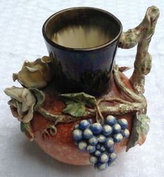 Rare French Barbotine Floral Fruit Faience Manufacturing Co. Pitcher from bestkeptsecrets on Ruby Lane