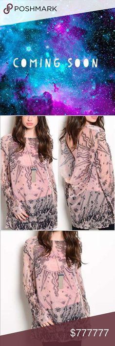 Cosmic Dust Blush Top Blush pink abstract long sleeve top.  Sheer fabric.  Comes with pink tank.   Drop open back.  100% Polyester Twilight Gypsy Collective Tops