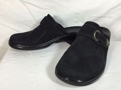 Women's Clarks Shoes Size 6M Leather Mules Black Suede Silver Buckle | eBay