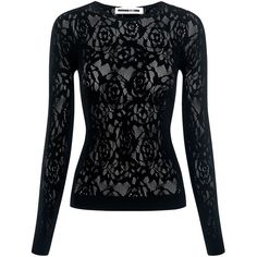 Mcq Alexander Mcqueen - Lace Mesh Top ($230) ❤ liked on Polyvore featuring tops, lace mesh top, flower print tops, long sleeve lace top, lacy tops and bralet tops