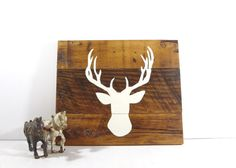 Hand Painted Deer Silhouette on Reclaimed Wood / Rustic Wall Hanging / Holiday Decor