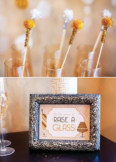 DIY 51 Ways to Throw the Best New Years Eve Party Evet ! (Shown easy Festive drink stirrers using pom-poms ). New Year's Eve Celebrations, New Year Celebration, Nye Party, Party Time, Elmo Party, Mickey Party, Gatsby Party, Dinosaur Party, Diy New Years Party