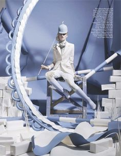 """Paper Plates"": Lara Mullen as an Olympiad in a Paper Wedgwood WorldTim Gutt for Vogue UK"