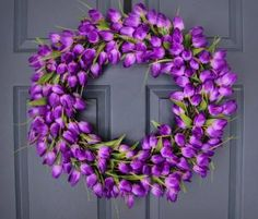 Deep Purple Tulip Wreath - Spring Wreath - Wedding Decoration -  Door Wreath - Front Door Decoration - Mothers Day Gift - Housewarming Gift by Home Hearth Garden