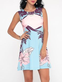 #Fashionmia - #Fashionmia Printed Exquisite Round Neck Skater-dress - AdoreWe.com