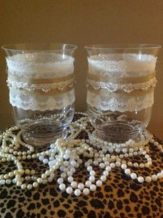 Pair of large candle holders with vintage lace,Burlap and Pearl Lace