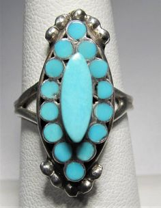 7a66b160170 Estate Vintage Sterling Silver Flush Inlay Zuni Ring L321. Vintage TurquoiseCoral  TurquoiseTurquoise JewelrySilver ...
