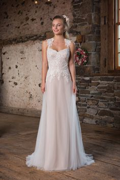Sequined Lace A-Line Gown with Crisscross Straps