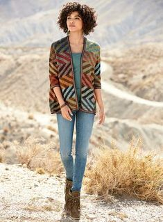 Gorgeously graphic, this collectible kimono from Kaffe Fassett is intarsia knit in optical diamonds. Rendered in dozens of hand-tweeded pima yarns—from ruby, blush and copper to plum, sky, indigo and sage. Drop shoulders; ¾ sleeves.