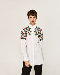 ZARA WHITE OVERSIZED FLORAL EMBROIDERED SHIRT