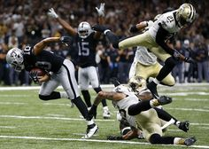 Seth Roberts #10 of the Oakland Raiders scores a touchdown during the second half of a game against the New Orleans Saints at Mercedes-Benz Superdome on Sept. 11, 2016 in New Orleans.