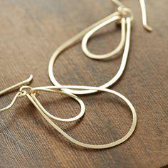 Hoop Earrings 14k Gold Fill Layered Teardrops Metal by aubepine, $31.00