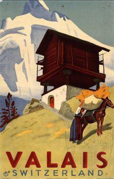 vintage travel poster - Valais region or Switzerland, chalet