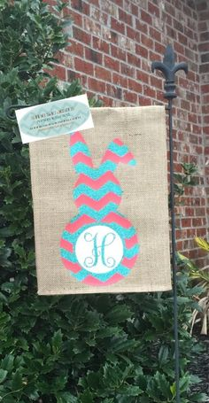 burlap garden flag decorated with chevron bunny and single initial
