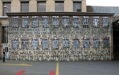 A Building Is A Building Public Work 2014,  Winterthur, Switzerland Material: spray paint on different surfaces 16m X 10.5m  Brad Downey, In collaboration with Rose Pacult