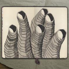 rougart drawing: TOWERS_Drawing (India Ink), 2014_Mariasun Salgado