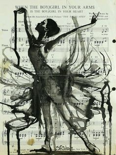"""Ink 2013 Drawing """"In Your Arms"""" love the music sheet as a background! Music art dance all beautiful art Art Brut, Dance Art, Pics Art, Art Pictures, Art Plastique, Photomontage, Love Art, Oeuvre D'art, Urban Art"""