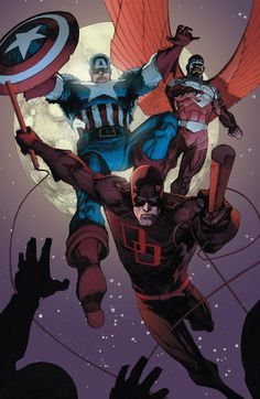 Daredevil, Captain America and The Falcon in New Avengers Comic Book Characters, Marvel Characters, Comic Character, Comic Books Art, Comic Art, Book Art, Fictional Characters, Hq Marvel, Marvel Comics Art