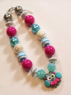 Owls Rule Hot Pink Aqua White Grey Girls Chunky Big Beads Necklace