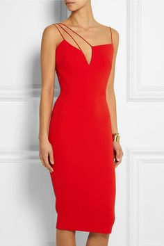 Add a contemporary edge to your evening closet with Victoria Beckham's red midi crepe dress. Team yours with minimal accessories for a modern finish. Loved by models and celebs such as Heidi Klum, Lucy liu, Victoria Beckham and many more. Red Dress Shoes, Dress Outfits, Fashion Dresses, Victoria Beckham, Simple Red Dress, Dress Skirt, Dress Up, Dress Prom, Dress Long