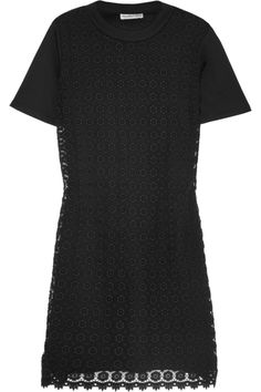 Black cotton-jersey Floral crocheted cotton overlay Slips on cotton Hand wash Office Outfits, Casual Outfits, Pamela Love, Laid Back Style, See By Chloe, Black Cotton, Classic T Shirts, Short Sleeve Dresses, Shirt Dress