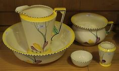 An Art Deco Burleigh ware pottery wash set, comprising wash jug, bowl, chamber pot, bowl and too