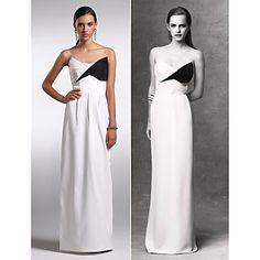 Formal Evening Dress - White Plus Sizes / Petite Sheath/Column Strapless Floor-length Chiffon