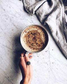superfood latte blend of chaga tea, oat & coconut milk, maca & lucuma powder and some vanilla + sweetened it with fresh dates
