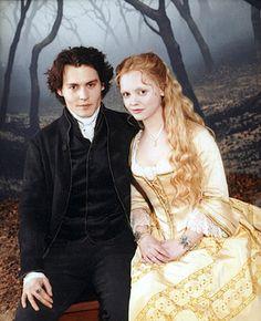 Ichabod Crane (Johnny Depp) and Katrina Van Tassel (Christina Ricci) in Sleepy Hollow.