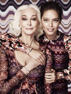 Ad Campaign: Missoni for Lindex  Season: Fall Winter 2012.13  Models: Carmen Dell'Orefice, Emily Didonato  Photographer: Giampaolo Sgura