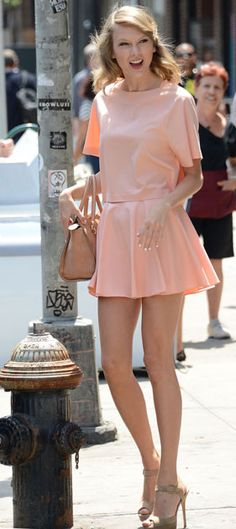 Taylor Swift looking cute as a peach in our Vance Boatneck Boxy Raglan Top and Blaise Skirt