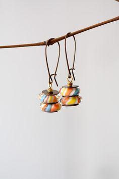 Orange Yellow Blue Lampwork Earrings Stacked Art by MeMadeJewels