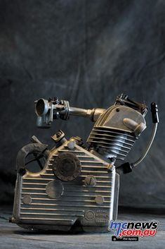 Ducati Cucciolo (Little Pup) was designed by the Turin based lawyer and writer Aldo Farinelli in 1943 after the Italian Armistice. Cucciolo in June 1946 Antique Motorcycles, Ducati Motorcycles, Motorized Bicycle, Bicycle Race, Motor Engine, Car Engine, Motorised Bike, Motorcycle News, 50cc