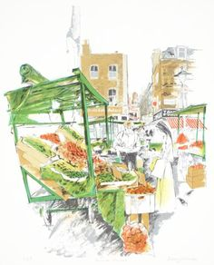 An original lithographic print of Berwick Market in Soho London, by the London-based artist Albany Wiseman. A copy of this print is held in the permanent collection of the Tate gallery. Tate Gallery, Collage Illustration, Soho, Marketing, The Originals, Artist, Artwork, Prints, Painting