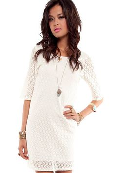 Lace Stitch Dress in Off White : tobi